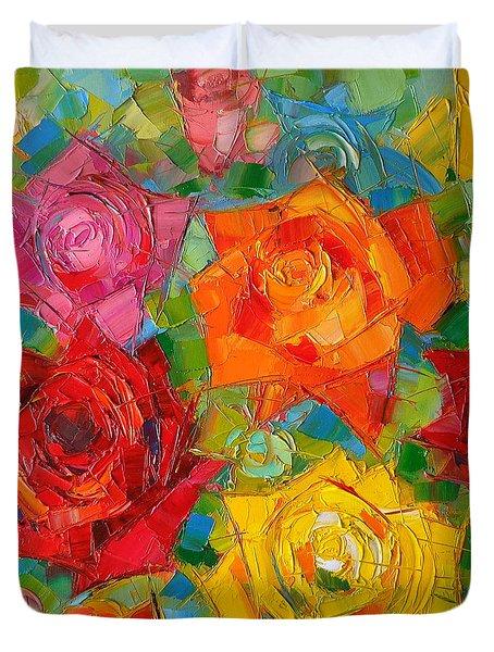 Mon Amour La Rose Duvet Cover by Mona Edulesco