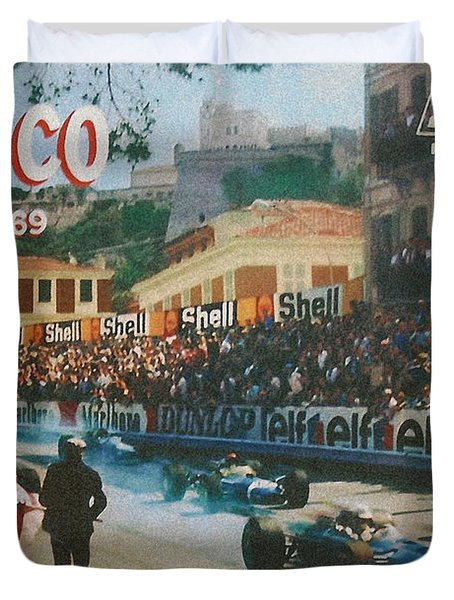 Monaco 1969 Duvet Cover by Nomad Art And  Design