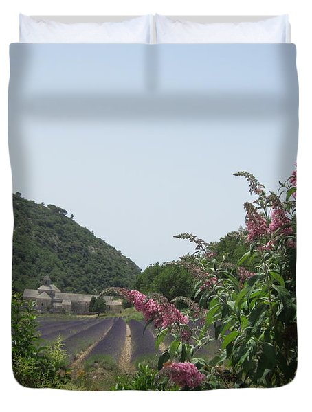 Monastery Lavender And Lilac Duvet Cover by Pema Hou