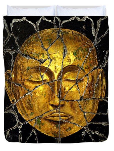 Monk In Meditation Duvet Cover by Steve Bogdanoff