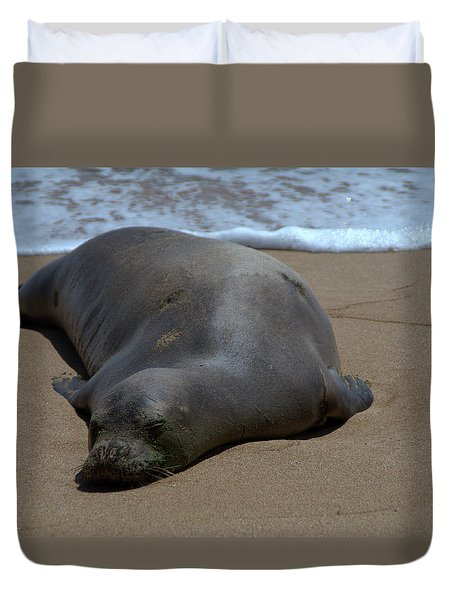 Monk Seal Sunning Duvet Cover by Brian Harig