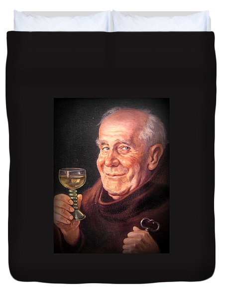 Monk With Wineglass And Key Duvet Cover by The Creative Minds Art and Photography
