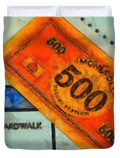 Monopoly Money Duvet Cover by Dan Sproul