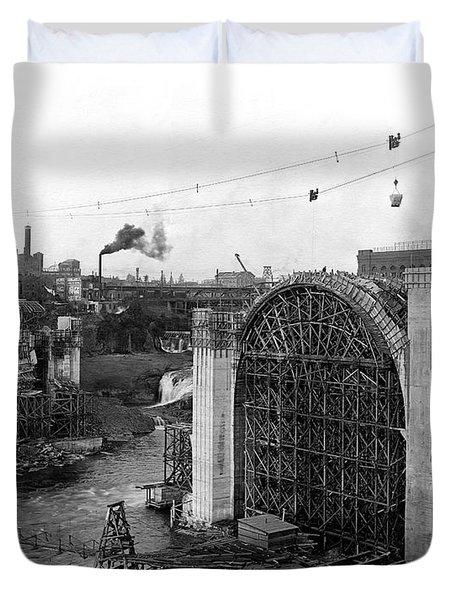 Monroe St Bridge Construction 1910 Duvet Cover by Daniel Hagerman
