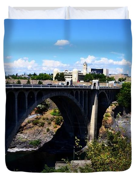 Monroe Street Bridge - Spokane Duvet Cover by Michelle Calkins