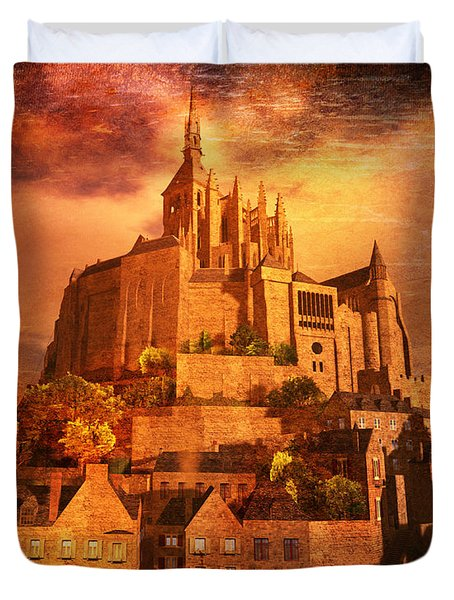 Mont Saint-michel Duvet Cover by Kylie Sabra