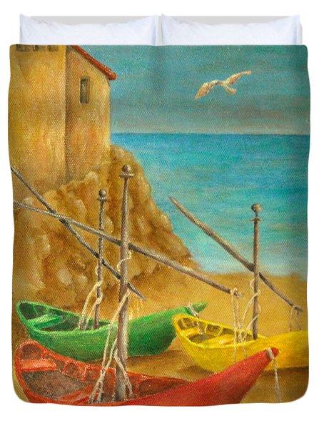 Monterosso On Riviera Di Levante Duvet Cover by Pamela Allegretto