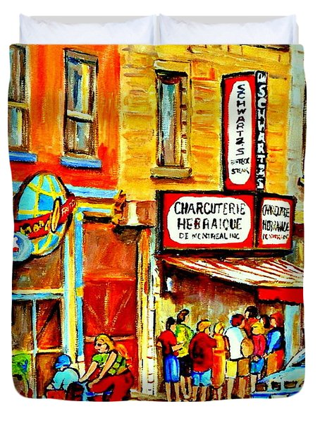 Montreal Bike Path Reserved Lane Cyclists Drive By Schwartzs Deli  Line-up Montreal Paintings Duvet Cover by Carole Spandau