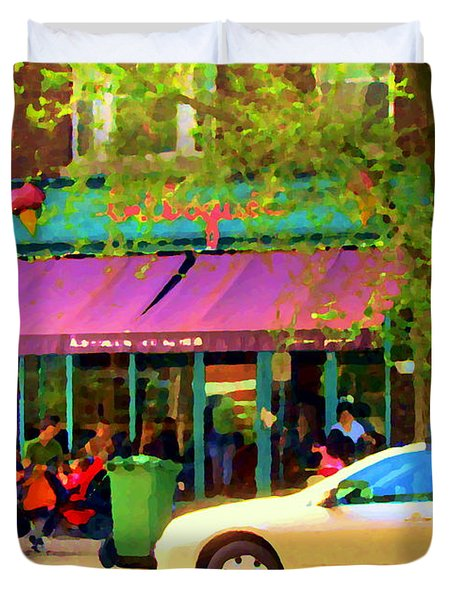 Montreal Cafe Scenes Beautiful Bilboquet On Bernard Creme Glacee Summer City Scene Carole Spandau  Duvet Cover by Carole Spandau