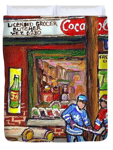 Montreal Hockey Paintings At The Corner Depanneur - Piche's Grocery Goosevillage Psc Griffintown Duvet Cover by Carole Spandau