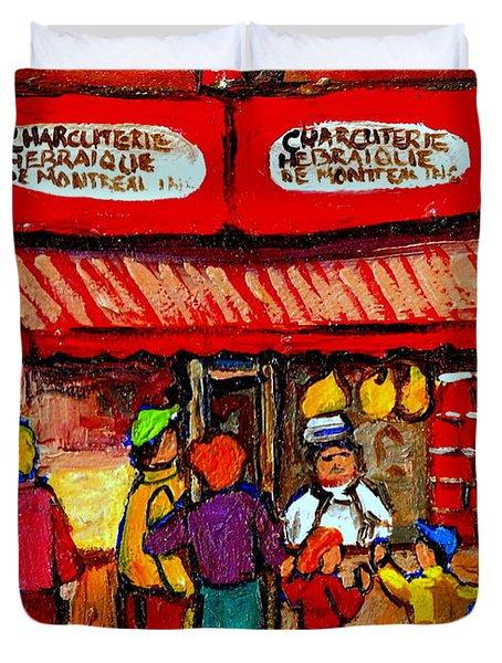 Montreal Memories Schwartz's Smoked Meat Nostalgic Vintage Scenes Heritage Landmark Classic Art Duvet Cover by Carole Spandau