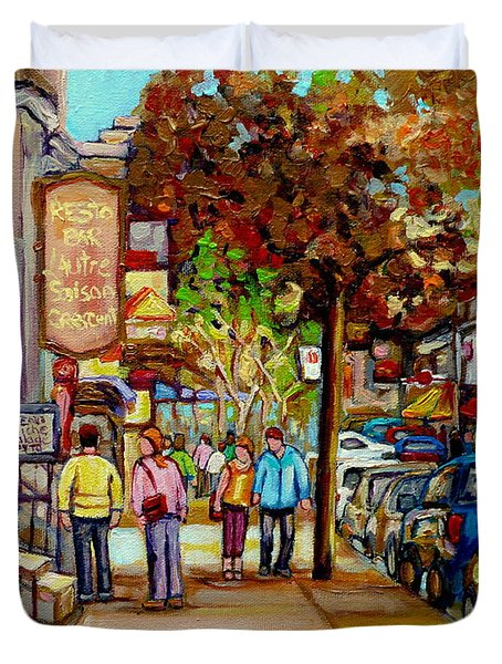 Montreal Streetscenes By Cityscene Artist Carole Spandau Over 500 Montreal Canvas Prints To Choose  Duvet Cover by Carole Spandau