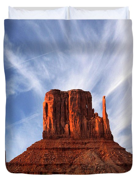 Monument Valley - Left Mitten 2 Duvet Cover by Mike McGlothlen