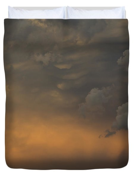 Moody Storm Sky Over Lake Ontario in Toronto Duvet Cover by Georgia Mizuleva