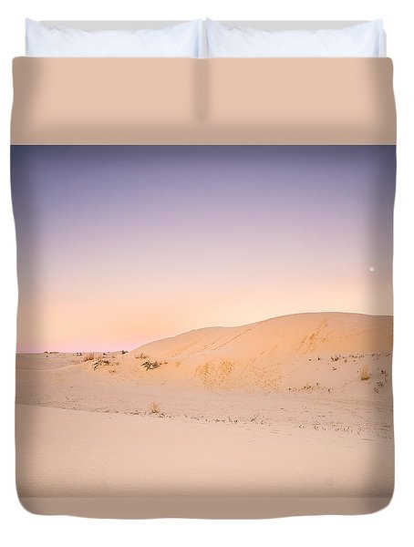 Moon And Sand Dune In Twilight Duvet Cover by Ellie Teramoto