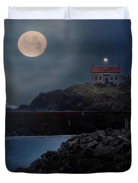 Moon Over Battery Point Duvet Cover by James Heckt