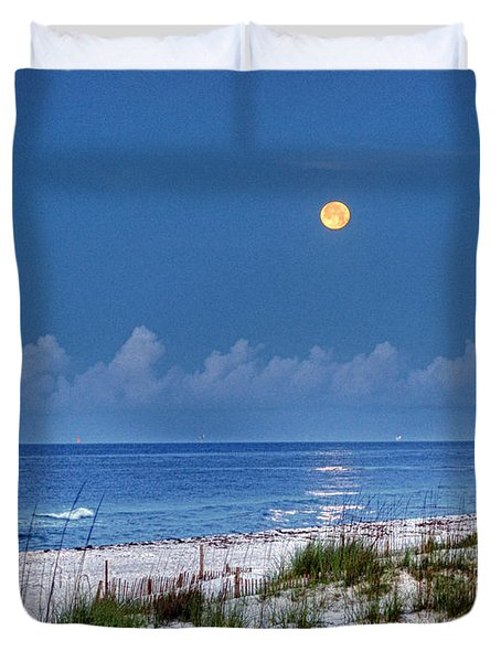 Moon Over Beach Duvet Cover by Michael Thomas