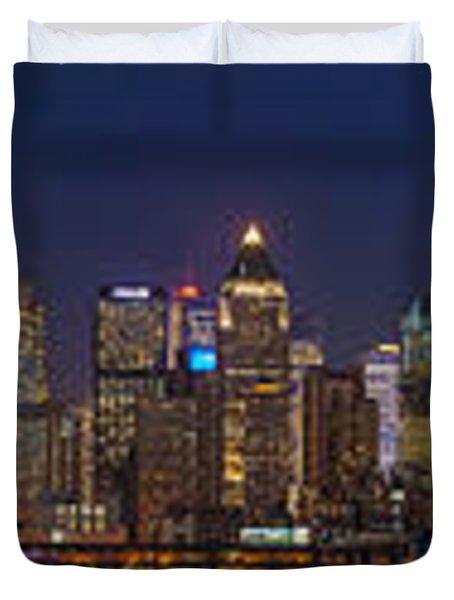 Moon Over Manhattan Duvet Cover by Mike Reid