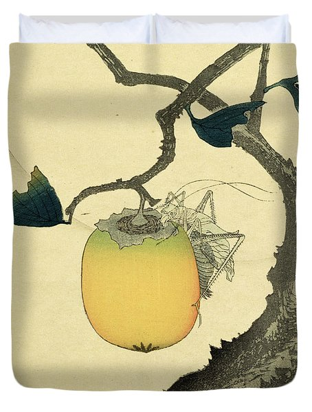 Moon Persimmon And Grasshopper Duvet Cover by Katsushika Hokusai