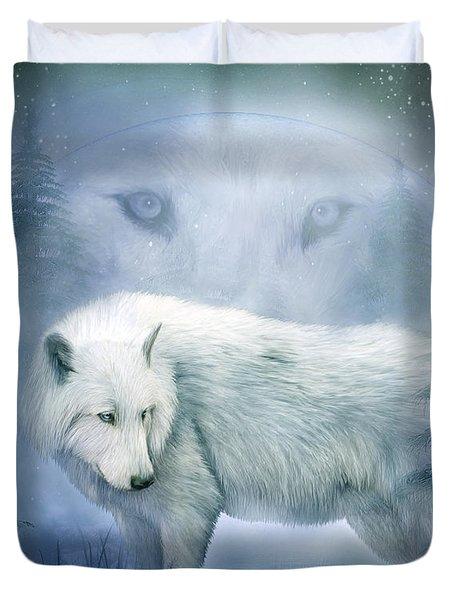 Moon Spirit 2 - White Wolf - Blue Duvet Cover by Carol Cavalaris