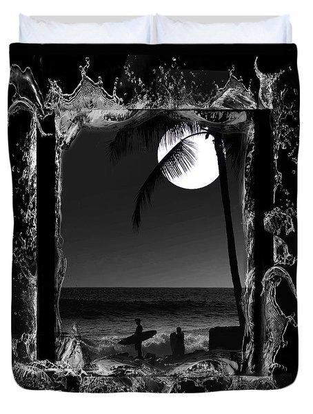 Moonlight surf Duvet Cover by Athala Carole Bruckner