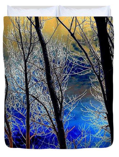 Moonlit Frosty Limbs Duvet Cover by Will Borden