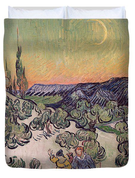 Moonlit Landscape Duvet Cover by Vincent Van Gogh