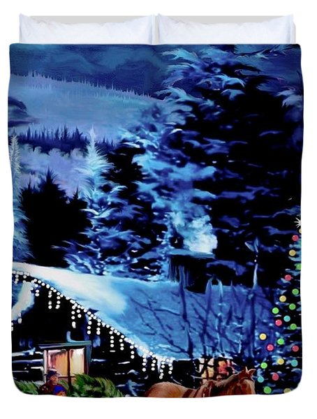 Moonlit Sleigh Ride Duvet Cover by Ronald Chambers