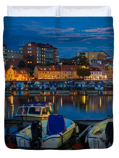 Moonrise In Karlskrona Duvet Cover by Inge Johnsson