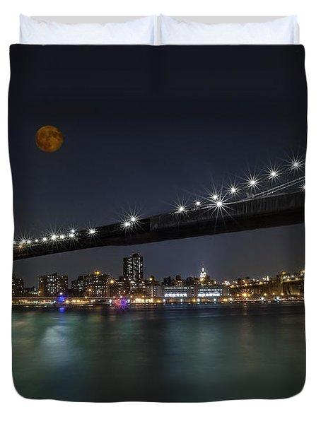 Moonrise Over Manhattan II Duvet Cover by Susan Candelario