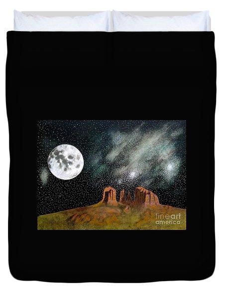 Moonrise Over Sedona Duvet Cover by John Lyes