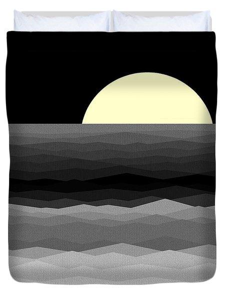 Moonrise Surf Duvet Cover by Val Arie