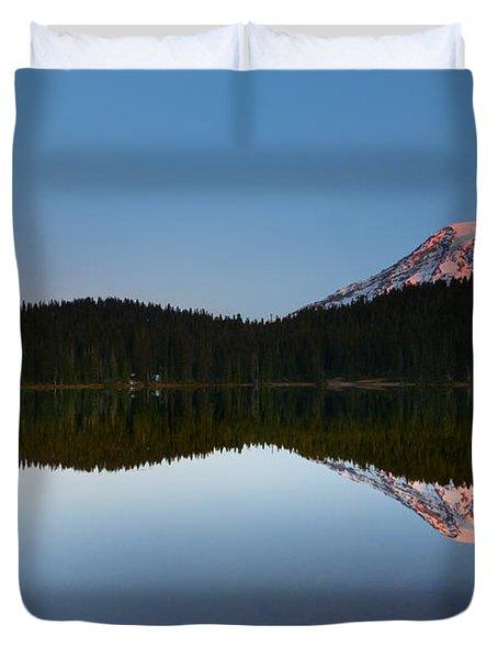 Moonset Over Rainier Duvet Cover by Mike  Dawson