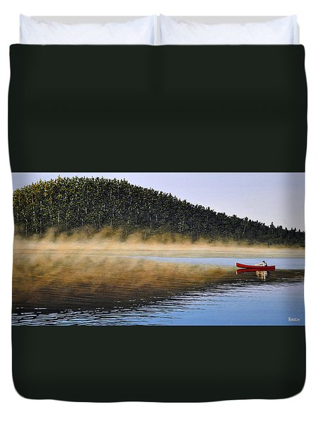Moose Lake Paddle Duvet Cover by Kenneth M  Kirsch