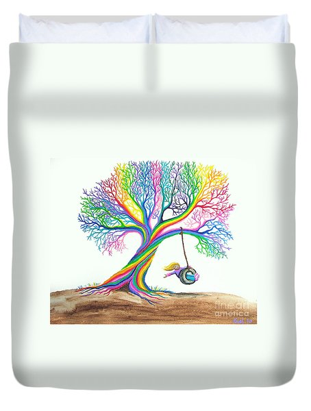 More Rainbow Tree Dreams Duvet Cover by Nick Gustafson