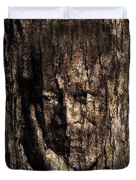 Morgan Freeman Roots Digital Painting Duvet Cover by Georgeta Blanaru