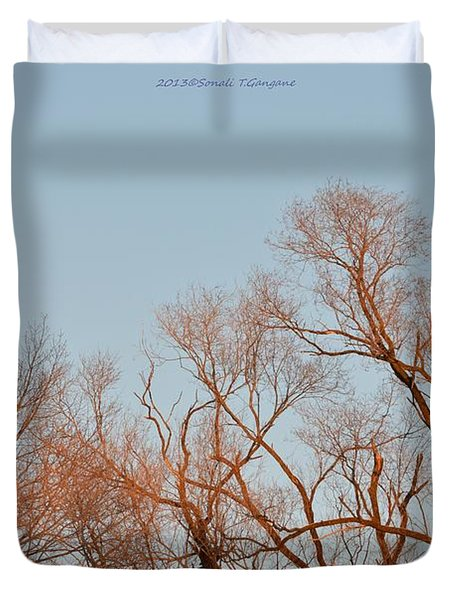 Morning Coloured In Fall Duvet Cover by Sonali Gangane