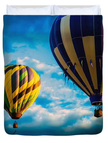 Morning Flight Hot Air Balloons Duvet Cover by Bob Orsillo