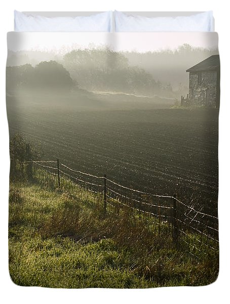 Morning Mist Over Field And Duvet Cover by Jim Craigmyle