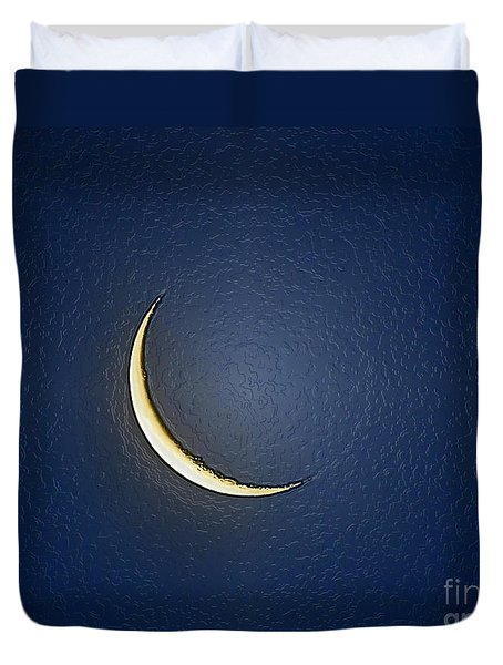 Morning Moon Textured Duvet Cover by Al Powell Photography USA
