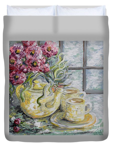 Morning Tea For Two Duvet Cover by Eloise Schneider