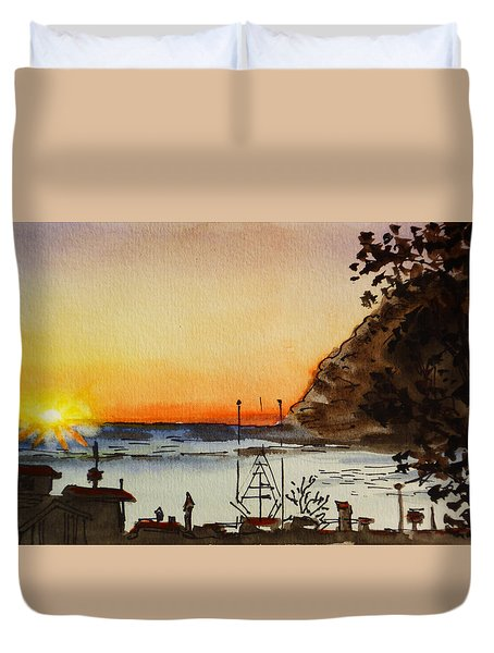 Morro Bay - California Sketchbook Project Duvet Cover by Irina Sztukowski