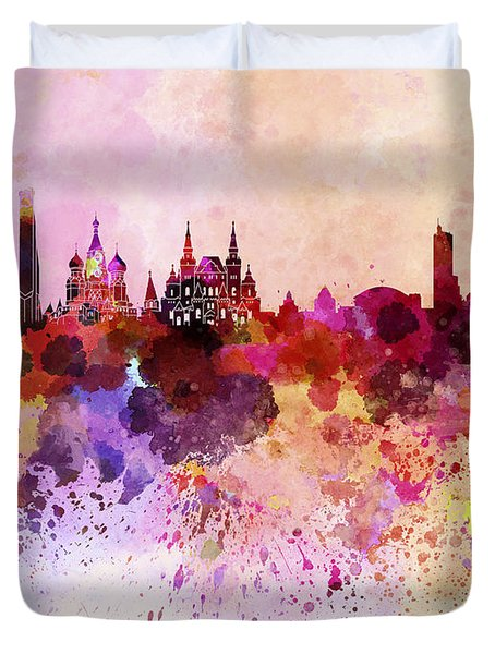 Moscow Skyline In Watercolor Background Duvet Cover by Pablo Romero