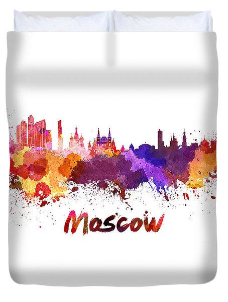 Moscow Skyline In Watercolor Duvet Cover by Pablo Romero
