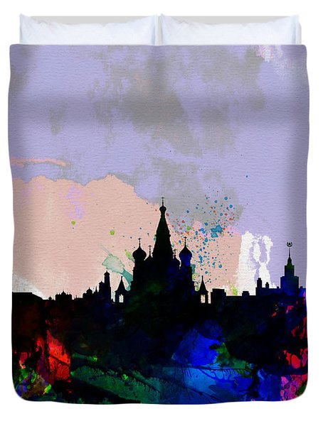 Moscow Watercolor Skyline Duvet Cover by Naxart Studio