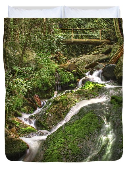 Mossy Creek Duvet Cover by Debra and Dave Vanderlaan
