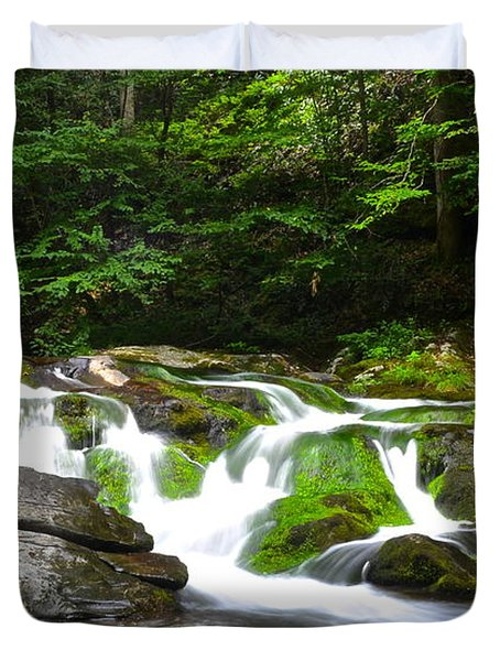 Mossy Mountain Falls Duvet Cover by Frozen in Time Fine Art Photography