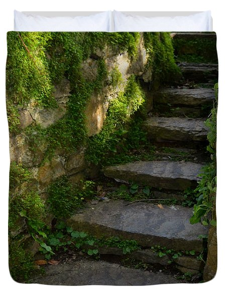 Mossy Steps Duvet Cover by Carla Parris