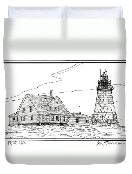 Mount Desert Rock Lighthouse Duvet Cover by Ira Shander