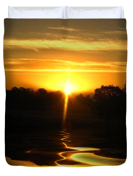 Mount Lassen Sunrise Gold Duvet Cover by Joyce Dickens
